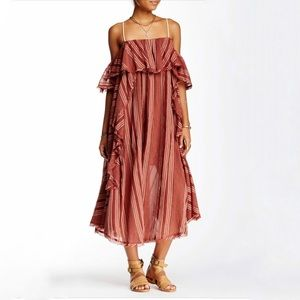 Free people red striped cold shoulder maxi dress